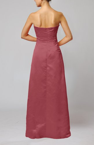 Wine elegant sheath sleeveless backless satin ruching for Vineyard wedding dresses for guests
