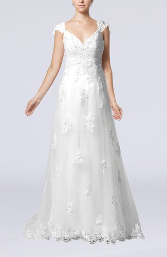 Fairytale Outdoor A-line V-neck Zipper Organza Appliques Bridal Gowns