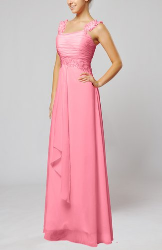 Pink Informal Wedding Dresses : Pink informal outdoor thick straps sleeveless zip up floor