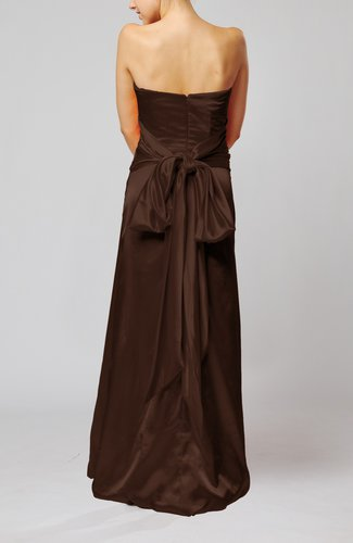 Chocolate Brown Elegant Strapless Backless Silk Like Satin