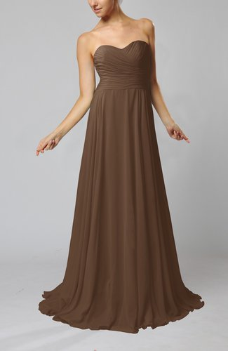 Brown simple sheath sweetheart zip up sweep train ruching for Brown dresses for wedding guest