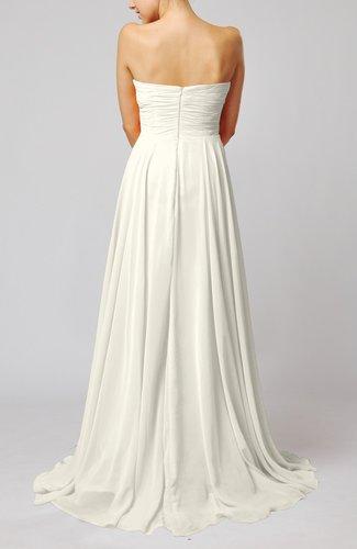 Cream simple sheath sweetheart zip up sweep train ruching for Simple cream wedding dresses