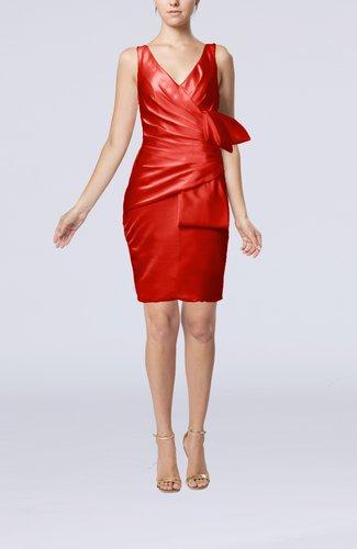 Simple Sheath Sleeveless Backless Elastic Woven Satin Pleated Party Dresses