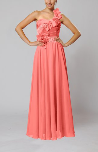Coral gorgeous sheath one shoulder sleeveless floor length for Mid length dresses for wedding guests