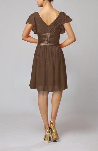 Brown Romantic Short Sleeve Zip Up Knee Length Sash