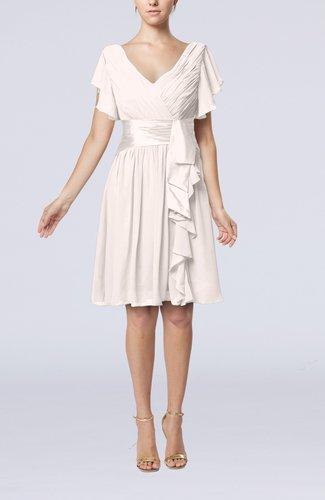 Light pink romantic short sleeve zip up knee length sash for Light pink wedding guest dress