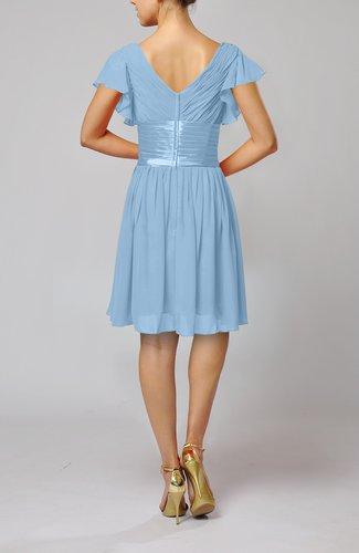 Sky blue romantic short sleeve zip up knee length sash for Sky blue wedding guest dresses
