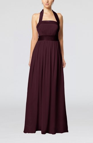Burgundy elegant a line sleeveless chiffon floor length for Burgundy dress for wedding guest