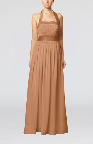 Light brown elegant a line sleeveless chiffon floor length for Brown dresses for wedding guest