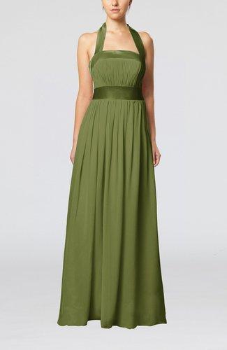 Olive Green Elegant A Line Sleeveless Chiffon Floor Length