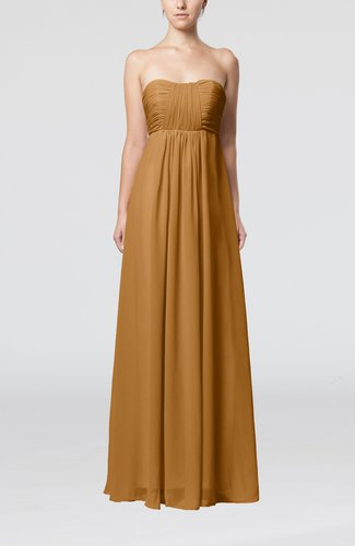 Light brown plain empire sleeveless zip up floor length for Brown dresses for wedding guest