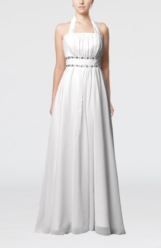 Elegant Destination Empire Halter Sleeveless Chiffon Floor Length Bridal Gowns
