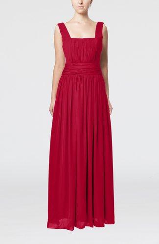 Simple Thick Straps Sleeveless Chiffon Ruching Evening Dresses