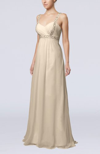 Cream simple hall empire thick straps floor length beaded for Simple cream wedding dresses