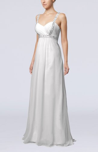 Simple Hall Empire Thick Straps Floor Length Beaded Bridal Gowns