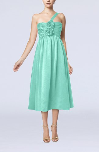 Mint green casual one shoulder sleeveless chiffon pleated for Mint wedding guest dress