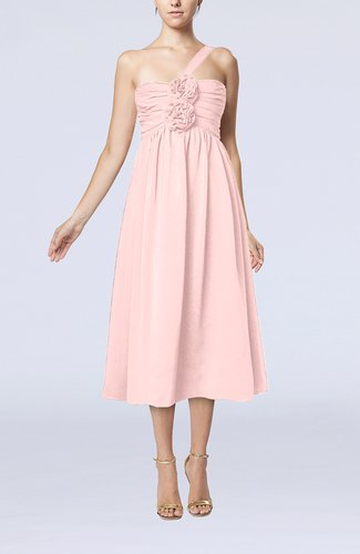 Pastel pink casual one shoulder sleeveless chiffon pleated for Pastel dresses for wedding guests