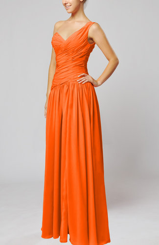 Tangerine plain column one shoulder sleeveless chiffon for One shoulder dress for wedding guest