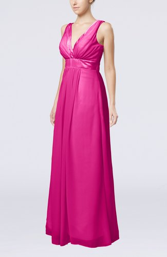 Plain V-neck Zip up Chiffon Sash Bridesmaid Dresses