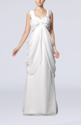Elegant Destination Sleeveless Lace up Chiffon Floor Length Draped Bridal Gowns