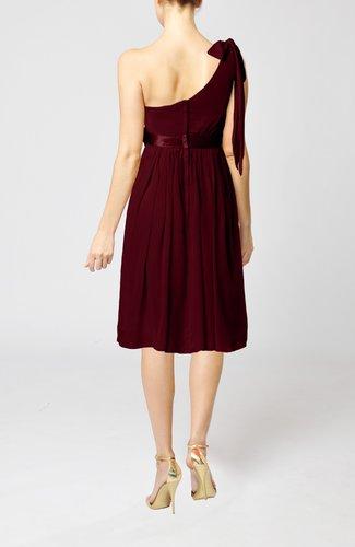 Burgundy plain one shoulder sleeveless zipper chiffon for Burgundy dress for wedding guest