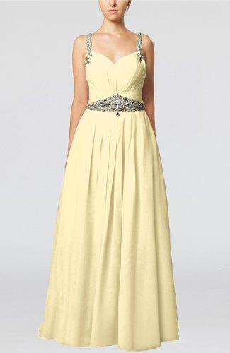 Glamorous Thick Straps Sleeveless Chiffon Floor Length Pleated Evening Dresses