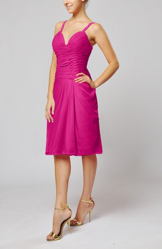 Hot pink plain sleeveless backless chiffon ruching wedding for Backless wedding guest dresses
