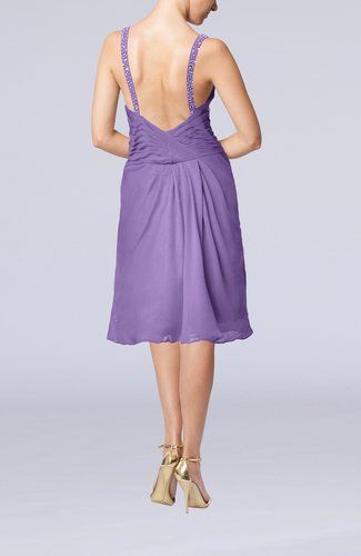 Lilac plain sleeveless backless chiffon ruching wedding for Backless wedding guest dresses
