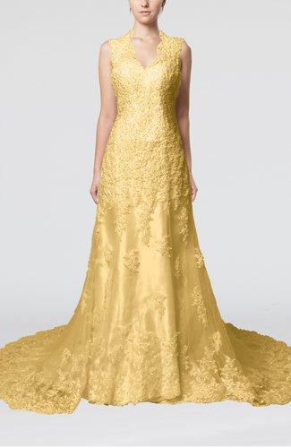 Gold gorgeous outdoor column scalloped edge sleeveless for Gold beaded wedding dress