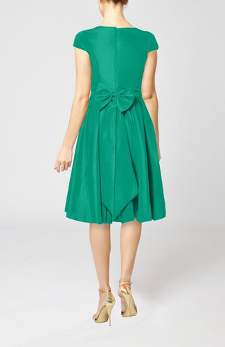 Emerald green simple a line scoop short sleeve taffeta for Emerald green dress wedding guest
