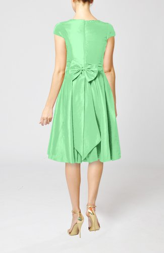 Mint green simple a line scoop short sleeve taffeta knee for Mint wedding guest dress
