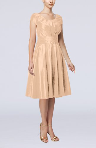 Pastel pink simple a line scoop short sleeve taffeta knee for Pastel dresses for wedding guests