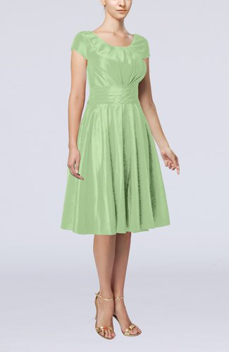 Smoke green simple a line scoop short sleeve taffeta knee for Knee length dresses for wedding guests