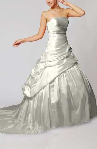 Plain Outdoor Lace up Taffeta Chapel Train Pick up Bridal Gowns