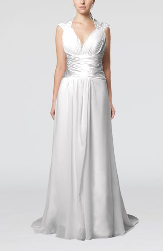 Elegant Church Column Sleeveless Chiffon Sweep Train Ruching Bridal Gowns