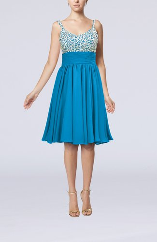 Modest Thick Straps Sleeveless Chiffon Beaded Cocktail Dresses