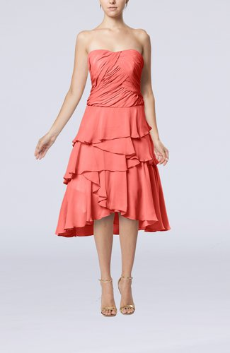 Coral romantic a line sleeveless backless chiffon ruching for Backless wedding guest dresses
