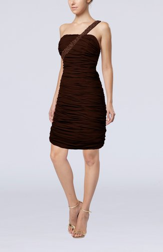 Chocolate brown sexy strapless chiffon short ruching for Brown dresses for wedding guest