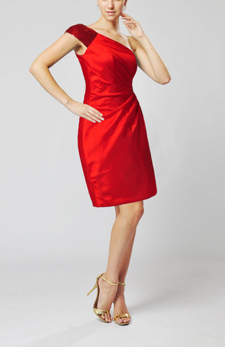Red modern column one shoulder sleeveless knee length for Modern wedding guest dresses
