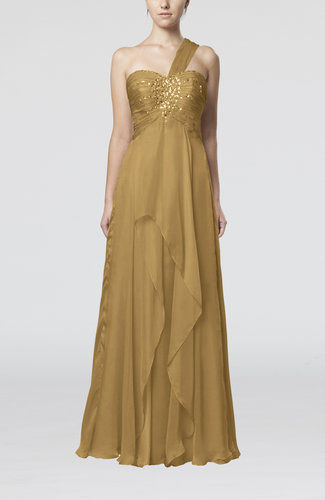 Light brown romantic one shoulder sleeveless chiffon floor for Mid length dresses for wedding guests