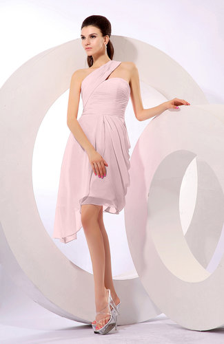 33bfd6b9646 Plain A-line Asymmetric Neckline Sleeveless Chiffon Ruching Cocktail Dresses