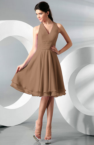 Light Brown Color Bridesmaid Dresses - UWDress.com