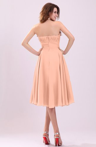 Peach simple a line sleeveless backless pleated wedding for Backless wedding guest dresses