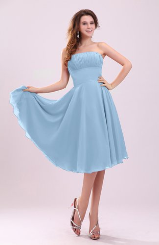 Sky blue simple a line sleeveless backless pleated wedding for Sky blue wedding guest dresses