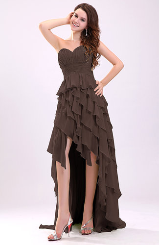 Chocolate Brown Gorgeous Sweetheart Lace Up Chiffon Knee Length