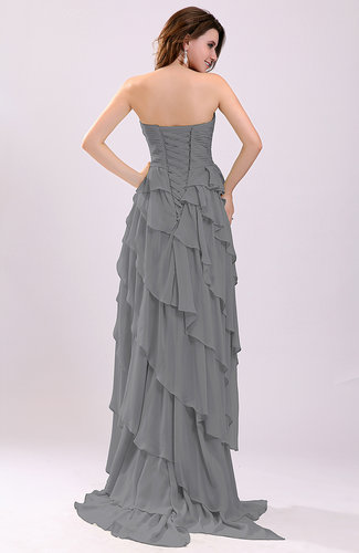 Grey gorgeous sweetheart lace up chiffon knee length for Grey dress wedding guest