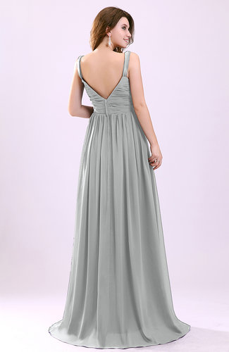 Platinum modern a line sleeveless zipper chiffon ruching for Modern wedding guest dresses