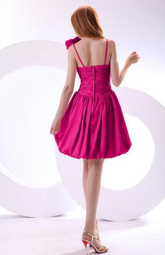 Hot pink cute a line spaghetti sleeveless taffeta short for Cute wedding guest dresses