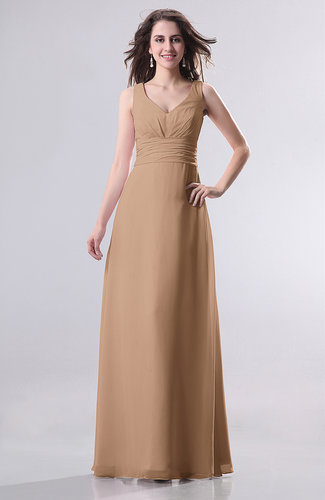 Light brown simple empire sleeveless zip up ruching for Brown dresses for wedding guest