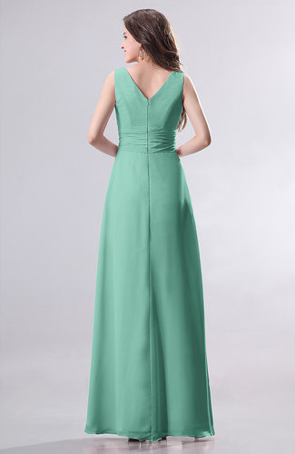 Mint Green Simple Empire Sleeveless Zip up Ruching Wedding ...
